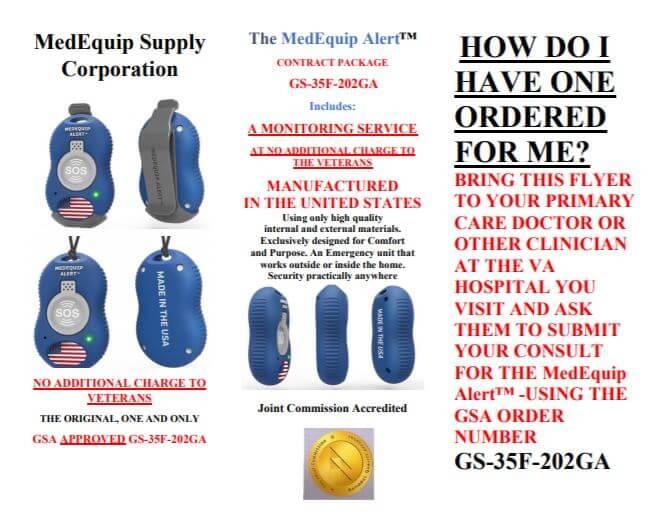 MedEquip Alert Button For Veterans Brochure